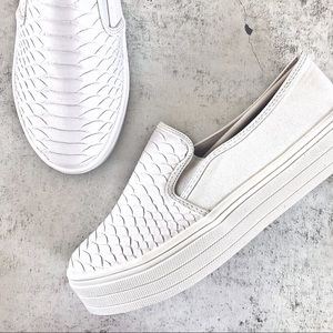 WHITE | Snakeskin Flatform Slip On Sneakers